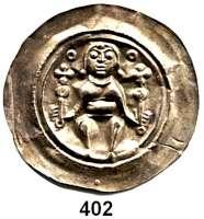 Deutsche Münzen und Medaillen,Sachsen (Meißen) Dietrich der Bedrängte 1195 - 1222 Brakteat.  1,01 g.  Markgraf mit zwei Kreuzzeptern sitzt von vorn, rechts und links neben dem Kopf zwei Ringel.  Schwinkowski 479.