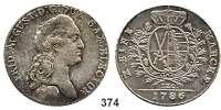 Deutsche Münzen und Medaillen,Sachsen Friedrich August III. 1763 - 1806 (1827) Konventionstaler 1786 IEC, Dresden.  28,08 g.  Kahnt 1081.   Buck 159.  Dav. 2695.
