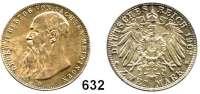 R E I C H S M Ü N Z E N,Sachsen - Meiningen Georg II. 1866 - 1914 2 Mark 1902.  Bart berührt den Perlkreis nicht.