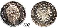 R E I C H S M Ü N Z E N,Sachsen, Königreich Albert 1873 - 1902 2 Mark 1888.
