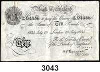 P A P I E R G E L D,AUSLÄNDISCHES  PAPIERGELD GroßbritannienFalsche Pfundnoten - Operation Bernhard.  10 Pfund  19. Juli 1934 London.  Pick 336 a.