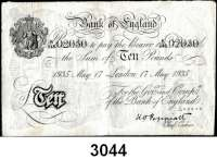 P A P I E R G E L D,AUSLÄNDISCHES  PAPIERGELD GroßbritannienFalsche Pfundnoten - Operation Bernhard.  10 Pfund  17. Mai 1935 London.  Pick 336 a.