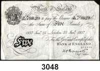 P A P I E R G E L D,AUSLÄNDISCHES  PAPIERGELD GroßbritannienFalsche Pfundnoten - Operation Bernhard.  5 Pfund  25. Januar 1937 London.  Pick 335 a.