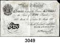P A P I E R G E L D,AUSLÄNDISCHES  PAPIERGELD GroßbritannienFalsche Pfundnoten - Operation Bernhard.  5 Pfund  22. März 1937 London.  Pick 335 a.