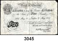 P A P I E R G E L D,AUSLÄNDISCHES  PAPIERGELD GroßbritannienFalsche Pfundnoten - Operation Bernhard.  5 Pfund  31. Mai 1935 London.  Pick 335 a.