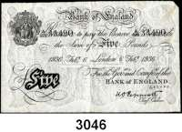 P A P I E R G E L D,AUSLÄNDISCHES  PAPIERGELD GroßbritannienFalsche Pfundnoten - Operation Bernhard.  5 Pfund  6. Februar 1936 London.  Pick 335 a.