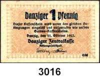 P A P I E R G E L D,D A N Z I G 1 Danziger Pfennig 22.10.1923 (leicht gebraucht) und 5 Pfennige 1.11.1923 (stark gebraucht).  Ros. DAN-35 und 48.  LOT 2 Scheine.