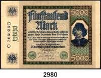 P A P I E R G E L D,Weimarer Republik 5000 Mark 16.9.1922.