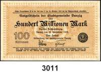 P A P I E R G E L D,D A N Z I G 100 Millionen Mark 22.9.1923.  Ros. DAN-30 b.