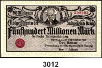 P A P I E R G E L D,D A N Z I G 500 Millionen Mark 26.9.1923.  Ros. DAN-31 a.