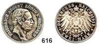 R E I C H S M Ü N Z E N,Sachsen, Königreich Friedrich August III. 1904 - 1918 2 Mark 1912.