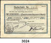 P A P I E R G E L D   -   N O T G E L D,Bayern Burghausen Dr. Alexander Wacker.  200.000 Mark 1.8.1923.  Keller 672.aA.