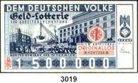 P A P I E R G E L D,Dokumente Originallos zu 1 Mark.  Geld-Lotterie für Arbeitsbeschaffung 1934.