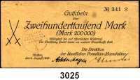 P A P I E R G E L D   -   N O T G E L D,Sachsen Meißen Staatliche Porzellanmanufaktur.  200,000 2.8.1923 und 500,000 Mark 9.8.1923.   Keller 3510.a.  LOT 2 Scheine.