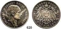 R E I C H S M Ü N Z E N,Sachsen, Königreich Friedrich August III. 1904 - 1918 5 Mark 1907.
