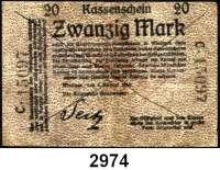 P A P I E R G E L D,D E U T S C H E      K O L O N I E N Deutsch - Südwestafrika20 Mark 8.8.1914.  KN 5stellig.  C.  Strichentwertung.  Ros. DSW-3b.