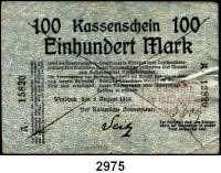 P A P I E R G E L D,D E U T S C H E      K O L O N I E N Deutsch - Südwestafrika100 Mark 8.8.1914.  Strichentwertung.  Mit Kassenstempel