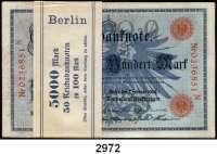 P A P I E R G E L D,K A I S E R R E I C H 100 Mark 7.2.1908.  LOT 50 Scheine (Originalbündel mit Banderole; fortlaufende Nummern).  Q/N.  Ros. DEU-31 b.