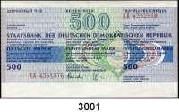 P A P I E R G E L D,D D R Reiseschecks zu 50 Mark (eingelöst, wenig gebraucht, 20x), 200 Mark (blanko, fast kassenfrisch, 19x) und 500 Mark (blanko, fast kassenfrisch, 20x)  LOT 59 Stück.