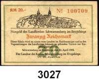 P A P I E R G E L D   -   N O T G E L D,Sachsen Schwarzenberg 20 Reichsmark 20.4.1945.  Schöne 0182 b.