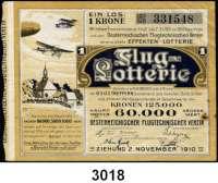 P A P I E R G E L D,Dokumente 1 Krone.  Fluglotterie 1910.  Österreichischer Flugtechnischer Verein.