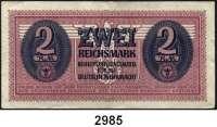 P A P I E R G E L D,Besatzungsausgaben des II. Weltkrieges Behelfszahlmittel für die Deutsche Wehrmacht1, 5, 10 und 50 Pfennig.  1 und 2 Mark. o.D.(1942-31.12.1944).  Ros. DWM 2 a, 3, 4, 5, 6, 7.  LOT 6 Scheine.
