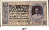 P A P I E R G E L D,Besatzungsausgaben des II. Weltkrieges Zentralnotenbank Ukraine 19421, 5, 50, 100, 500 Karbowanez 10.3.1942.  Ros. ZWK-47, 49, 52 a, 53 a, 55.  LOT 5 Scheine