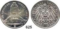 R E I C H S M Ü N Z E N,Sachsen, Königreich Friedrich August III. 1904 - 1918 3 Mark 1913.  Völkerschlachtdenkmal.