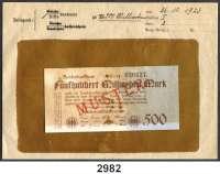 P A P I E R G E L D,Weimarer Republik 500 Milliarden Mark 26.10.1923.  Serie: J.  Mit vorderseitigem roten Aufdruck
