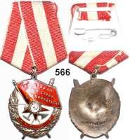 Orden, Ehrenzeichen, Militaria, Zeitgeschichte,Ausland Russland Rotbannerorden am Band.  Silber, emailliert.  Mit Nummer