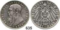 R E I C H S M Ü N Z E N,Sachsen - Meiningen Georg II. 1866 - 1914 3 Mark 1908.
