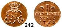 Deutsche Münzen und Medaillen,Preußen, Königreich Friedrich II. der Große 1740 - 1786 Pfennig (Cu) 1752 A, Berlin.  2,39 g.  Kluge 210.2/1981.  v.S. 913.  Olding 157.