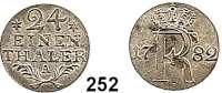 Deutsche Münzen und Medaillen,Preußen, Königreich Friedrich II. der Große 1740 - 1786 1/24 Taler 1782 A, Berlin.  2,31 g.  Sterne neben 24.   Kluge 174.3/1102.  v.S. 707.  Olding 140.