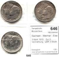 R E I C H S M Ü N Z E N,Sachsen - Weimar - Eisenach Wilhelm Ernst 1901 - 1918 3 Mark 1910.   Zur 2. Vermählung.  LOT 3 Stück.