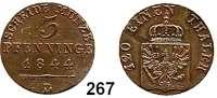 Deutsche Münzen und Medaillen,Preußen, Königreich Friedrich Wilhelm IV. 1840 - 1861 3 Pfennig 1844 D.  AKS 90.  Jg. 48.  Old. 343.