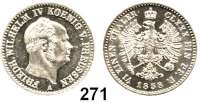 Deutsche Münzen und Medaillen,Preußen, Königreich Friedrich Wilhelm IV. 1840 - 1861 1/6 Taler 1858 A.  AKS 82.  Jg. 83.  Old. 318.