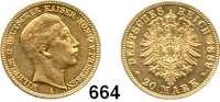 R E I C H S M Ü N Z E N,Preussen, Königreich Wilhelm II. 1888 - 1918 20 Mark 1889.