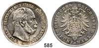 R E I C H S M Ü N Z E N,Preussen, Königreich Wilhelm I. 1861 - 1888 5 Mark 1874 A.