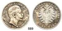 R E I C H S M Ü N Z E N,Preussen, Königreich Wilhelm II. 1888 - 1918 5 Mark 1888.