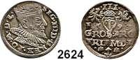 AUSLÄNDISCHE MÜNZEN,Polen Sigismund III. 1587 - 1632 3 Gröscher 1593 für Litauen.  2,40 g.  Iger V 93.1.