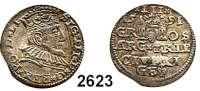 AUSLÄNDISCHE MÜNZEN,Polen Sigismund III. 1587 - 1632 3 Gröscher 1591, Riga.  2,25 g.  Iger R 91.1 c.  Haljak 1026 b.