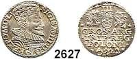 AUSLÄNDISCHE MÜNZEN,Polen Sigismund III. 1587 - 1632 3 Gröscher 1594, Marienburg.  2,41 g.  Iger M 94.1.  Gum. 1021.