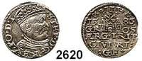 AUSLÄNDISCHE MÜNZEN,Polen Stephan Bathory 1576 - 1586 3 Gröscher 1585, Riga.  2,17 g.  Iger R 85.2.