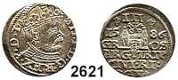 AUSLÄNDISCHE MÜNZEN,Polen Stephan Bathory 1576 - 1586 3 Gröscher 1586, Riga.  2,49 g.  Iger R 86.1.