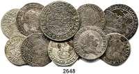 AUSLÄNDISCHE MÜNZEN,Polen LOTS   LOTS   LOTS Gulden 1665; Ort 16?? (Sigismund III.); 6 Groschen 1627, 1666, 1667, 1683, 1684; 4 Groschen 1766(2) und 2 Groschen 1766.  LOT 10 Stück.