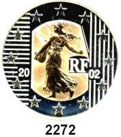 AUSLÄNDISCHE MÜNZEN,E U R O  -  P R Ä G U N G E N Frankreich 5 Euro 2002.  (Silber mit Goldinlay, 2,03 g.).  Säerin.  Schön 684.  KM 1374.  Im Originaletui mit Zertifikat.