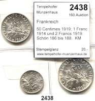 AUSLÄNDISCHE MÜNZEN,Frankreich 5. Republik seit 1958 50 Centimes 1919; 1 Franc 1914 und 2 Francs 1919.  Schön 186 bis 188.  KM 854, 844 und 845.  LOT 3 Stück.