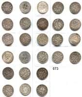 R E I C H S M Ü N Z E N,Kleinmünzen  1 Mark 1874 und 1886.  LOT 26 Stück.