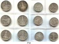 R E I C H S M Ü N Z E N,Drittes Reich  2 und 5 Reichsmark 1934 jeweils A bis J.  Kirche mit Datum.  LOT 12 Stück.