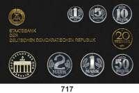 Deutsche Demokratische Republik,K U R S S Ä T Z E  Kurssatz 1987.  1 Pfennig bis 5 Mark Brandenburger Tor.